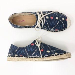 J Crew Lace Up Espadrilles Ikat Blue Shoes Size 7